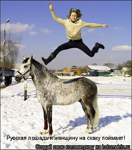Котоматрица: Русская лошадь и женщину на скаку поймает!