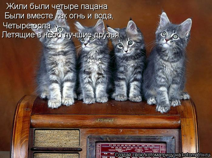 Котоматрица: Жили были четыре пацана Были вместе как огнь и вода, Четыре орла Летящие в небо лучшие друзья.