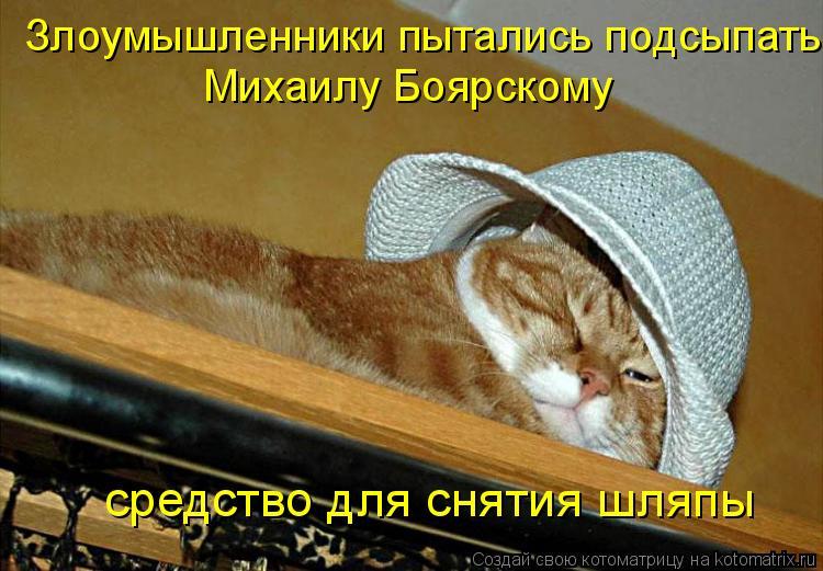 Котоматрица: Злоумышленники пытались подсыпать  Михаилу Боярскому  средство для снятия шляпы