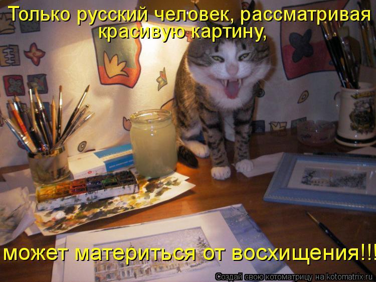 Котоматрица: Только русский человек, рассматривая  красивую картину,  может материться от восхищения!!!