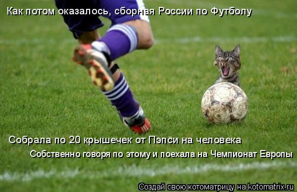Котоматрица: Как потом оказалось, cборная России по Футболу Собрала по 20 крышечек от Пэпси на человека Собственно говоря по этому и поехала на Чемпионат