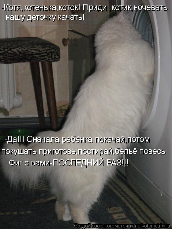 Котоматрица: -Котя,котенька,коток! Приди ,котик,ночевать нашу деточку качать! -Да!!! Сначала ребёнка покачай,потом покушать приготовь,постирай,бельё пове
