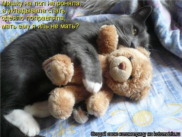 Котоматрица: Мишку на пол не роняла, а укладывала спать, одеяло поправляла, мать ему я иль не мать?