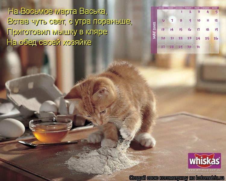 Котоматрица: На Восьмое марта Васька, Встав чуть свет, с утра пораньше,  Приготовил мышку в кляре На обед своей хозяйке