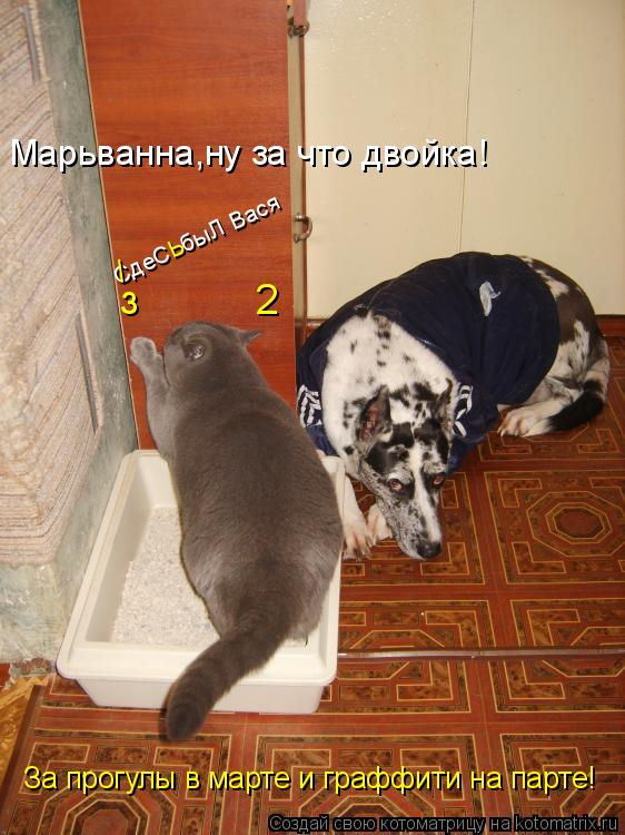 Котоматрица: СдеС  быЛ Вася /      ь з          2 Марьванна,ну за что двойка! За прогулы в марте и граффити на парте!