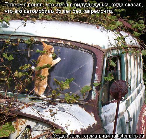 Котоматрица: -Теперь я понял, что имел в виду дедушка когда сказал, что его автомобиль 35 лет без капремонта.