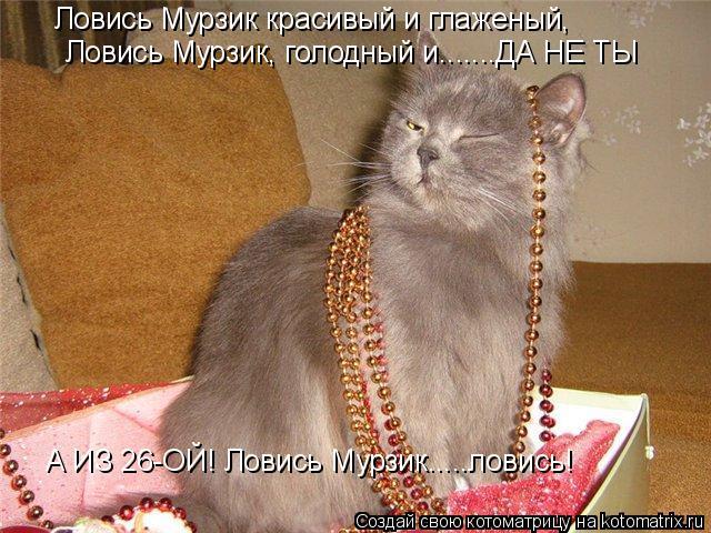 Котоматрица: Ловись Мурзик красивый и глаженый, Ловись Мурзик, голодный и.......ДА НЕ ТЫ А ИЗ 26-ОЙ! Ловись Мурзик.....ловись!