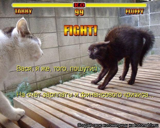 Котоматрица: Вася, я же, того, Вася, я же, того, пошутил На счёт зарплаты и финансового кризиса...