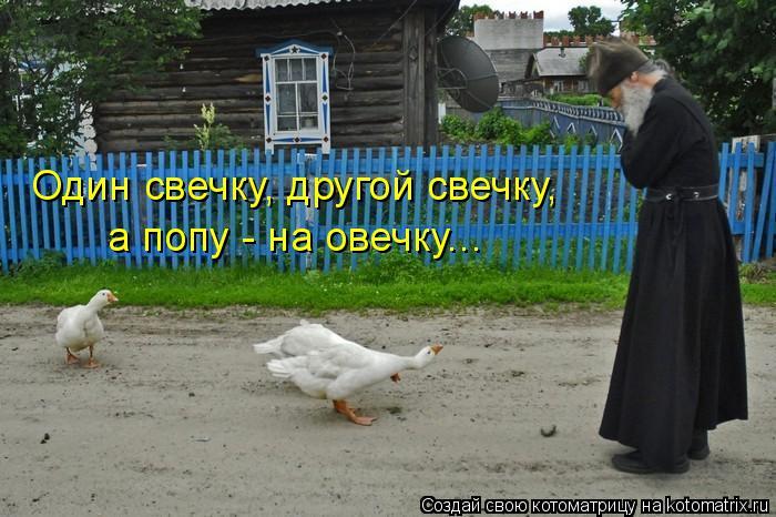 Котоматрица: Один свечку, другой свечку,  а попу - на овечку...