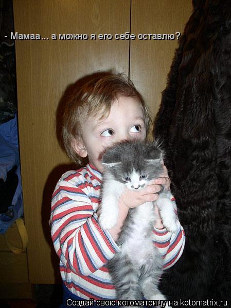 Котоматрица: - Мамаа... а можно я его себе оставлю?