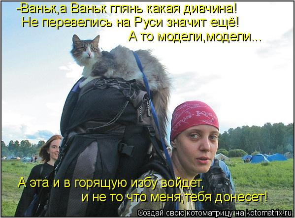 Котоматрица: -Ваньк,а Ваньк глянь какая дивчина! Не перевелись на Руси значит ещё! А то модели,модели...  А эта и в горящую избу войдет, и не то что меня,тебя
