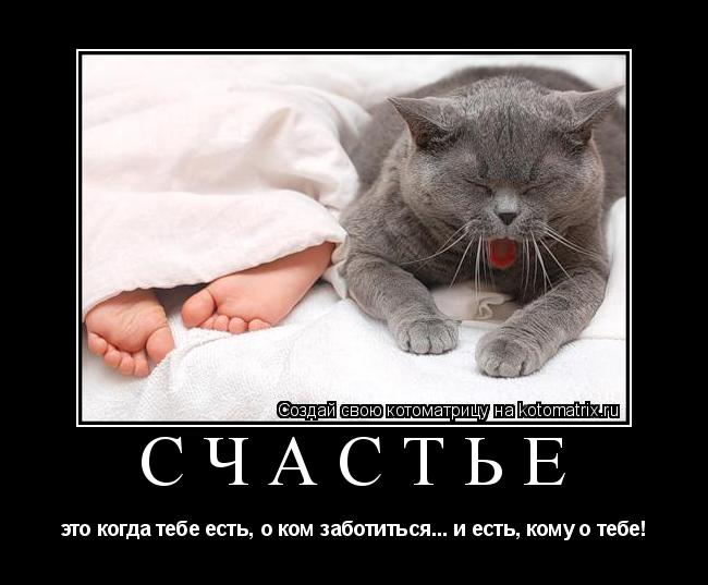 Котоматрица: счастье это когда тебе есть, о ком заботиться... и есть, кому о тебе!