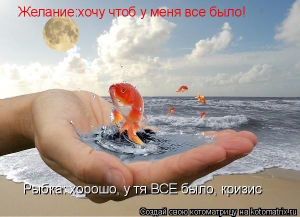 Котоматрица: Желание:хочу чтоб у меня все было! Рыбка: хорошо, у тя ВСЕ было, кризис