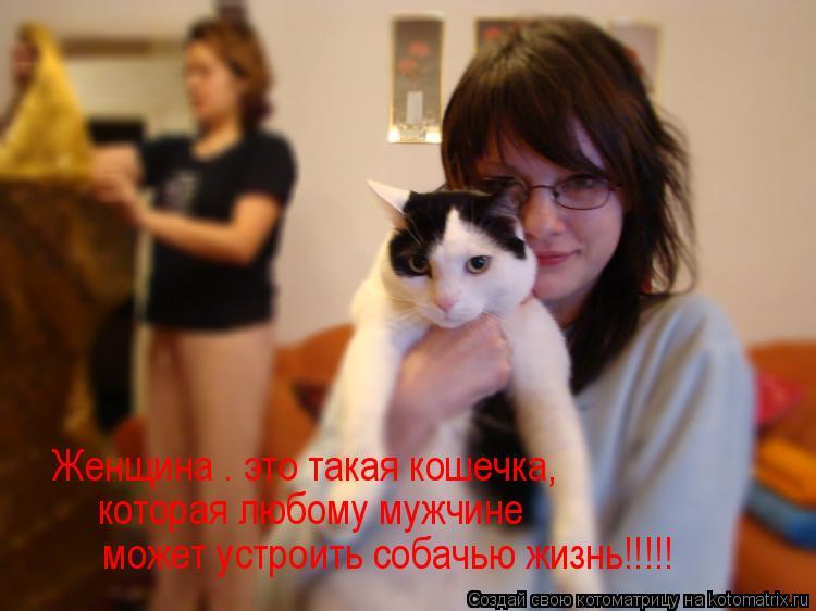 Котоматрица: Женщина – это такая кошечка, которая любому мужчине   может устроить собачью жизнь!!!!!