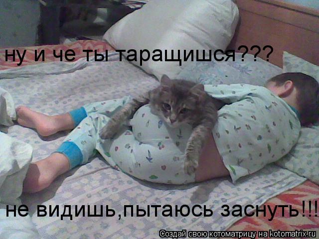 Котоматрица: ну и че ты таращишся??? не видишь,пытаюсь заснуть!!!