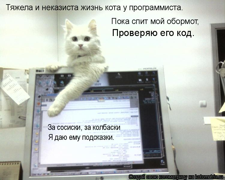 Котоматрица: Тяжела и неказиста жизнь кота у программиста. Пока спит мой обормот,  Проверяю его код. За сосиски, за колбаски Я даю ему подсказки.