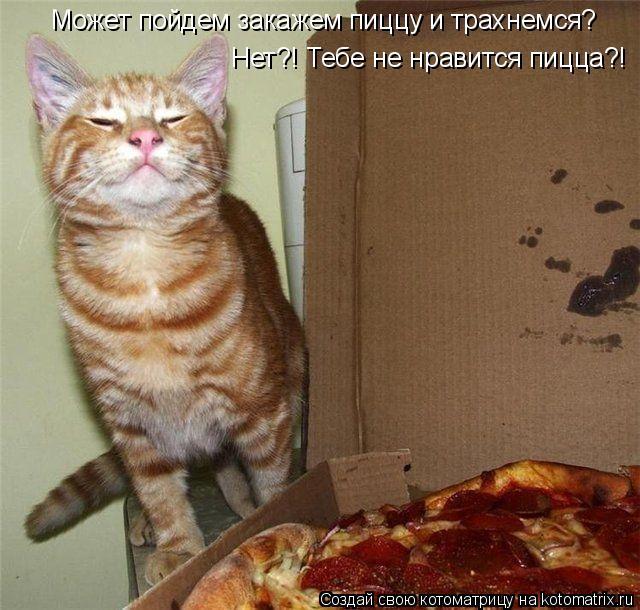 Котоматрица: Может пойдем закажем пиццу и трахнемся? Hет?! Тебе не нравится пицца?!