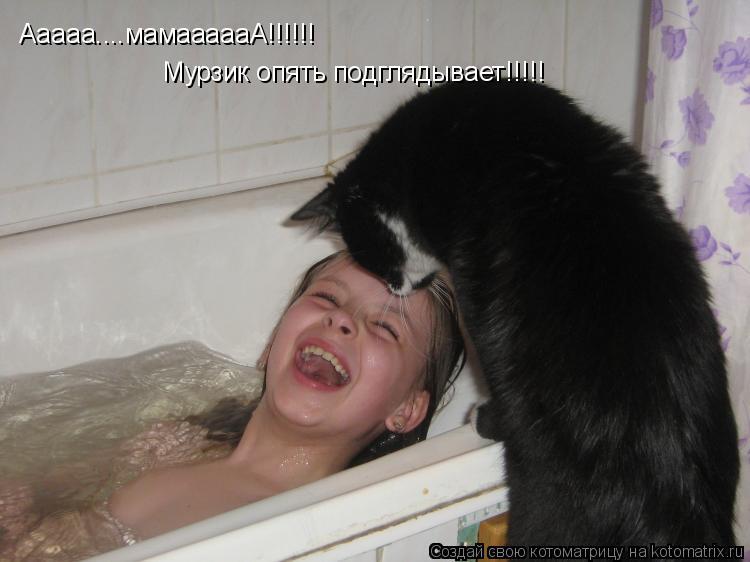 Котоматрица: Ааааа....мамаааааА!!!!!! Мурзик опять подглядывает!!!!!
