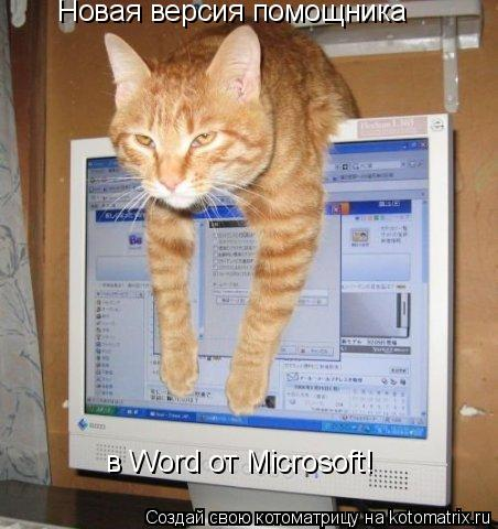 Котоматрица: Новая версия помощника  в Word от Microsoft!