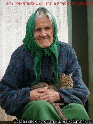 Котоматрица: а ты меня любишь?   а ты меня любишь? -ага! а я тебя нет бабусяXD