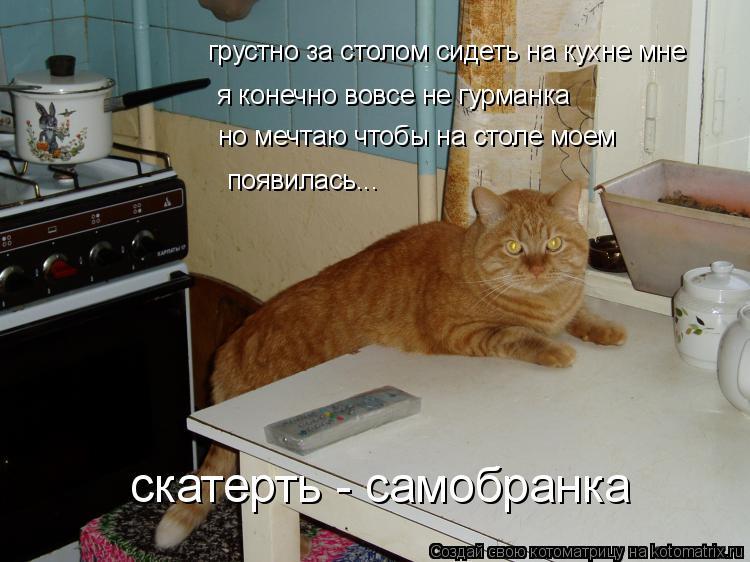 Котоматрица: грустно за столом сидеть на кухне мне я конечно вовсе не гурманка но мечтаю чтобы на столе моем появилась... скатерть - самобранка
