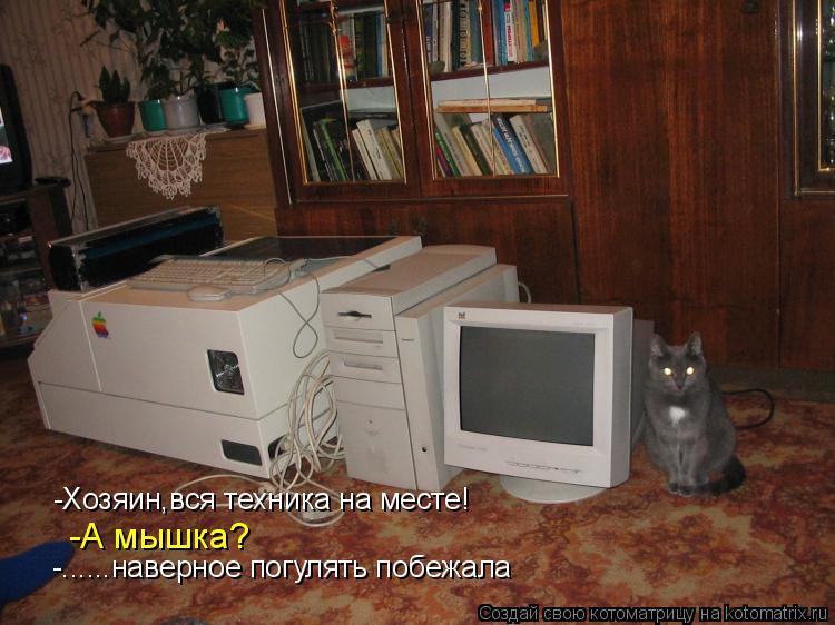 Котоматрица: -Хозяин,вся техника на месте! -А мышка? -......наверное погулять побежала