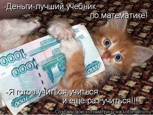 Котоматрица: -Деньги-лучший учебник   по математике!  -Я готов учиться,учиться,  и ещё раз учиться!!!