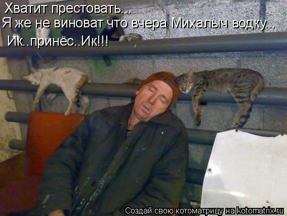 Котоматрица: Хватит престовать... Я же не виноват что вчера Михалыч водку... Ик..принёс..Ик!!!
