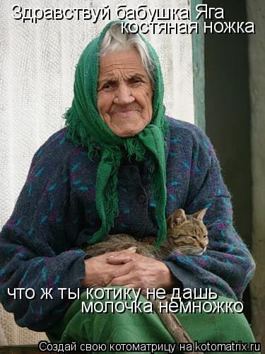 Котоматрица: Здравствуй бабушка Яга костяная ножка что ж ты котику не дашь молочка немножко