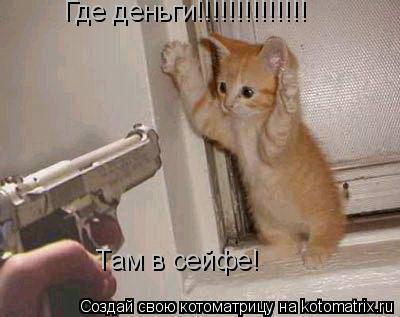 Котоматрица: Где деньги!!!!!!!!!!!!!! Там в сейфе!