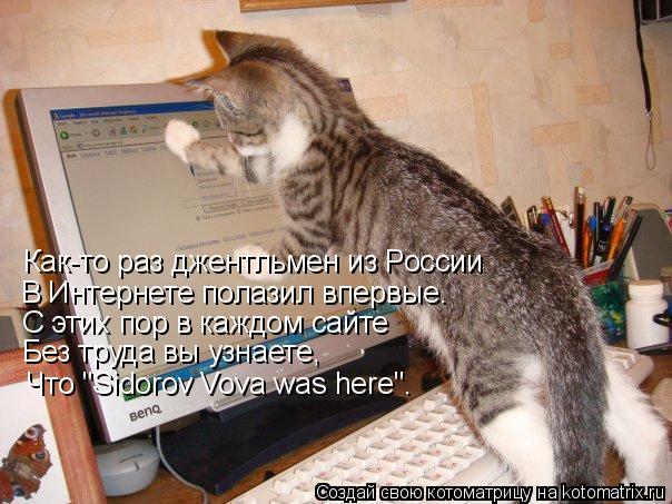 """Котоматрица: Как-то раз джентльмен из России В Интернете полазил впервые. С этих пор в каждом сайте Без труда вы узнаете, Что """"Sidorov Vova was here""""."""