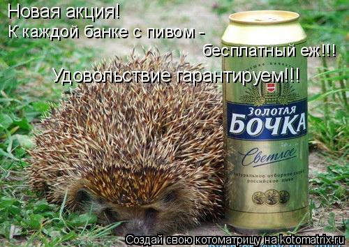 Котоматрица: Новая акция! К каждой банке с пивом - бесплатный еж!!!  Удовольствие гарантируем!!!