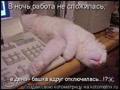 Котоматрица: В ночь работа не сложилась, в день - башка вдруг отключилась...!?:)(;