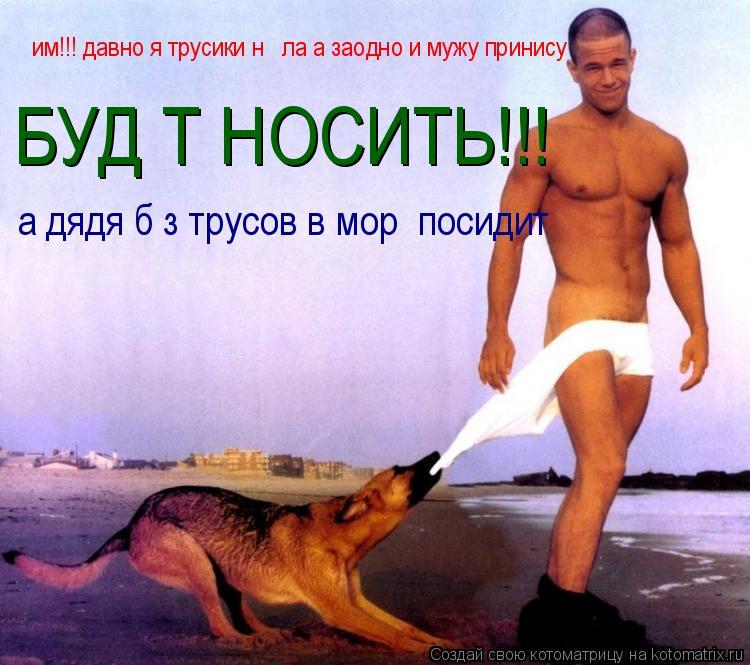 Котоматрица: им!!! давно я трусики нє єла а заодно и мужу принису БУДЄТ НОСИТЬ!!! а дядя бєз трусов в морє посидит