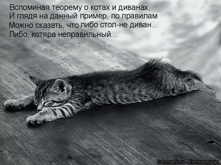 Котоматрица: Вспоминая теорему о котах и диванах, Можно сказать, что либо стол-не диван... И глядя на данный пример, по правилам Либо, котяра неправильный..
