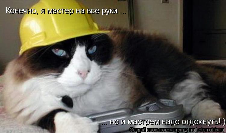 Котоматрица: Конечно, я мастер на все руки.... ....но и мастрем надо отдохнуть!;)