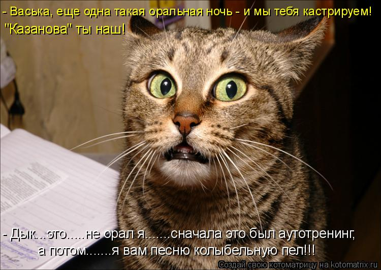 """Котоматрица: - Васька, еще одна такая оральная ночь - и мы тебя кастрируем! """"Казанова"""" ты наш! - Дык...это.....не орал я.......сначала это был аутотренинг, а потом"""