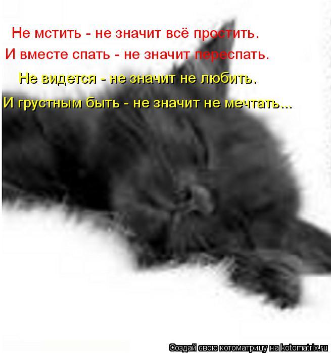 Котоматрица: Не мстить - не значит всё простить. И вместе спать - не значит переспать. Не видется - не значит не любить. И грустным быть - не значит не мечтат