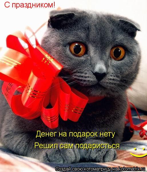 Котоматрица: С праздником! Решил сам подаристься Денег на подарок нету :)