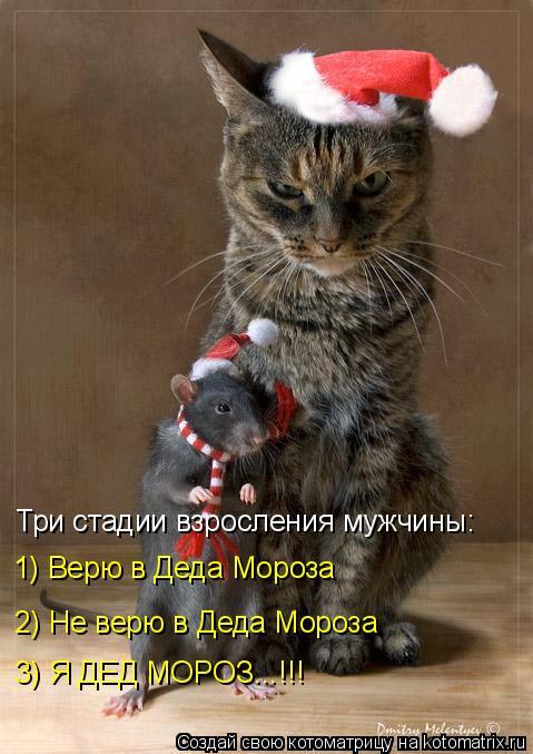 Три стадии взросления мужчины: 1) Верю в Деда Мороза 2) Не верю в Деда Мороза 3) Я ДЕД МОРОЗ...!!!