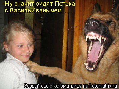 Котоматрица: -Ну значит сидят Петька  с ВасильИванычем ...