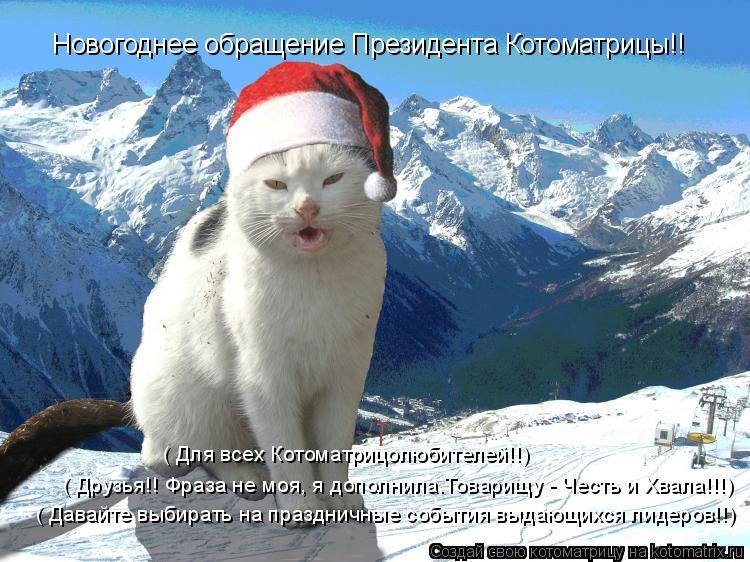 Котоматрица: Новогоднее обращение Президента Котоматрицы!! ( Давайте выбирать на праздничные события выдающихся лидеров!!) ( Для всех Котоматрицолюбите