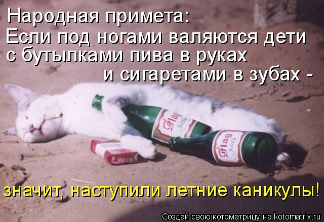 Котоматрица: Народная примета:  Если под ногами валяются дети  с бутылками пива в руках  и сигаретами в зубах -  значит, наступили летние каникулы!