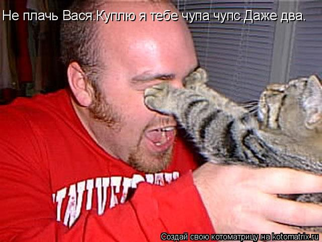 Котоматрица: Не плачь Вася.Куплю я тебе чупа чупс.Даже два.