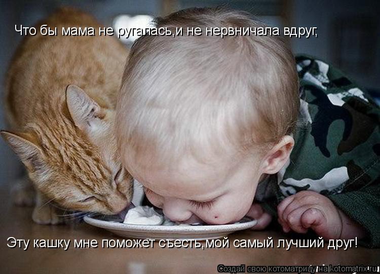 Котоматрица: Что бы мама не ругалась,и не нервничала вдруг, Эту кашку мне поможет съесть,мой самый лучший друг!