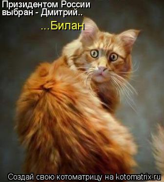 Котоматрица: Призидентом России выбран - Дмитрий.. Призидентом России выбран - Дмитрий.. ...Билан