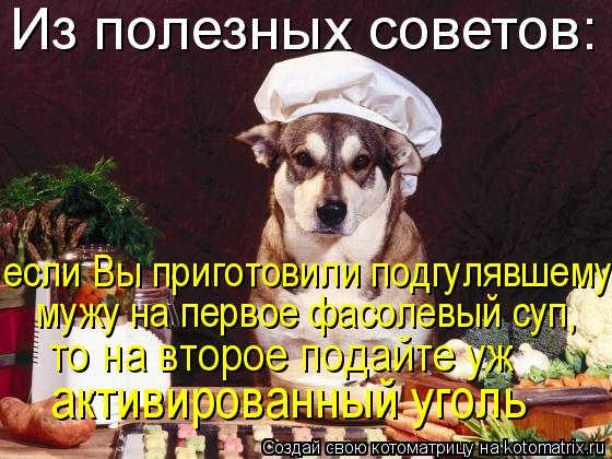 Котоматрица: Из полезных советов: если Bы приготовили подгулявшему мужу на первое фасолевый суп,  то на второе подайте уж  активированный уголь