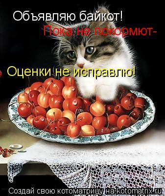 Котоматрица: Объявляю байкот! Пока не покормют- Оценки не исправлю!