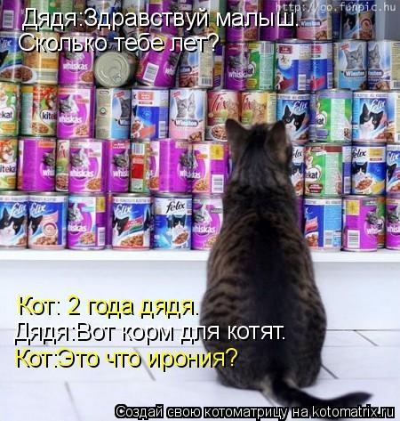Котоматрица: Дядя:Здравствуй малыш. Сколько тебе лет? Кот: 2 года дядя. Дядя:Вот корм для котят. Кот:Это что ирония?