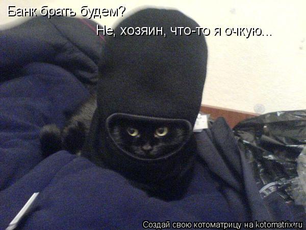 Котоматрица: Банк брать будем? Не, хозяин, что-то я очкую...